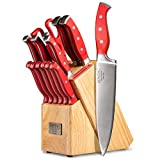Professional 15-Piece German High Carbon Stainless Steel Kitchen Knife Set, Ocean Series Premium Forged Full Tang Chef Knives Set with Rubber Wood Block, Red