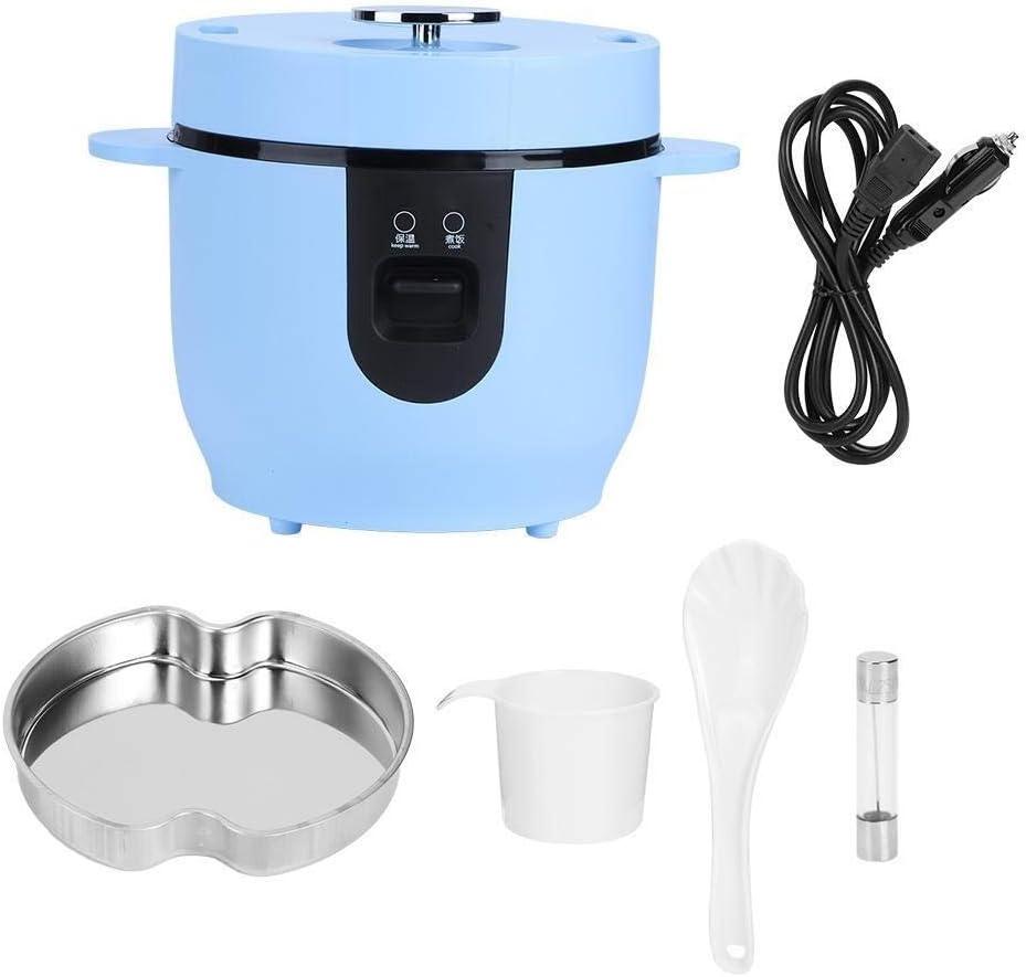 Belissy Cocina Electrica Portatil Cocina De Arroz, 2L de Gran Capacidad portátil Arroz Cocina eléctrica de arroz Que Cocina la Herramienta de 24V del Uso del Coche Azul de Cielo