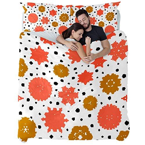gdfgd Tagesdecke mit Schneeflocken auf weißem Patchwork-Muster, 3-teilig, gesteppt, Bettüberwurf, Bettwäsche-Set mit 1 Tagesdecke + 2 Kissenbezügen, Einzelbett, mehrfarbig, Doppelbett
