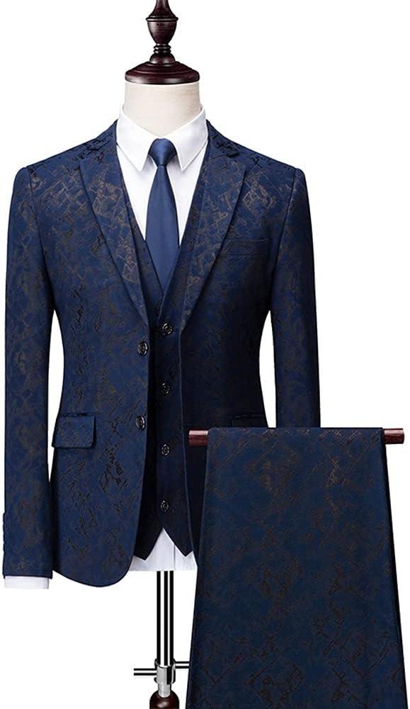 UXZDX (Suit + Vest + Pants Set 3 Piece Suits/for Mens Suits Man Slim Fit Print Suits Set M-6XL (Color : Blue, Size : 2XLfor 68-73kg)