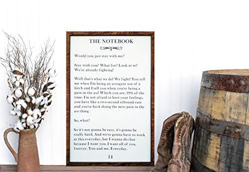 Yor242len - Cartel de Pared con Marco de Libro, diseño de Nicholas Sparks (36 x 24 cm)
