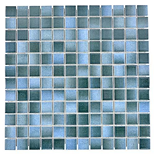 Mosaikfliese Keramik blau grau anthrazit changierend Küchenrückwand MOS18D-0406