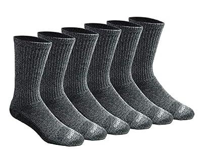 Dickies Men's Dri-tech Moisture Control Crew Socks Multipack, Heathered Grey (6 Pairs), Shoe Size: 6-12