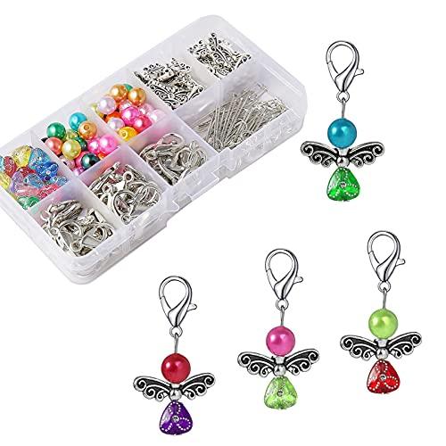 HERZWILD 50 Sets Schutzengel selber Machen Set Schlüsselanhänger Engel Charme Perlenengel Anhänger für DIY Hochzeit Schmuck Halskette Basteln (A)