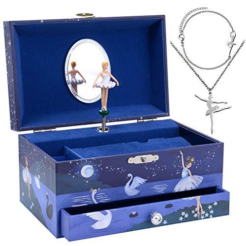 Jewelkeeper Ballerina Music Box & Little Girls Jewellery Set - 3 Ballerina Gifts for Girls