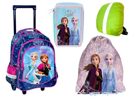 Frozen Eiskönigin Trolley Rucksack Ranzen Federmappe gefüllt Turnbeutel Regenhülle 4 Teile Frozen Set