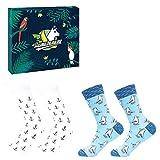 Llamabanana - 2 pares de calcetines para hombre, de algodón colorido, con caja de regalo Gaviotas y anclas Talla única