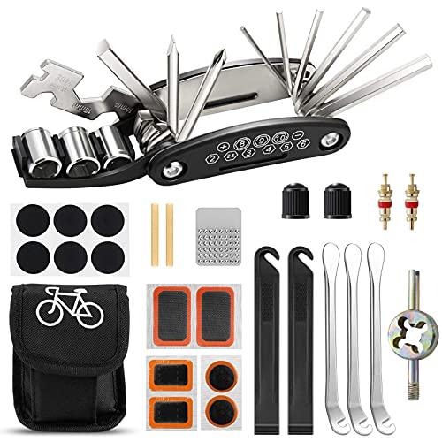 Migimi Fahrrad-Multitool, Fahrrad Werkzeug Tool 16 in 1 Multifunktions-Reparatursatz Fahrradwerkzeug Set für Fahrrad Reparatur, Werkzeugset Fahrrad mit Tasche, Selbstklebendes Fahrradflicken usw