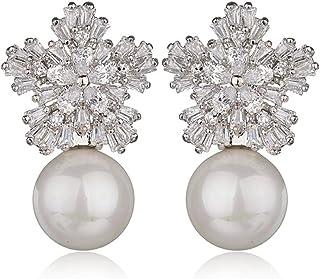 BMBN Oorbellen, sneeuwvlok oorbellen, modieuze sieraden, strass parel oorbellen, sieraden, paar, geschenken, dagelijkse lo...