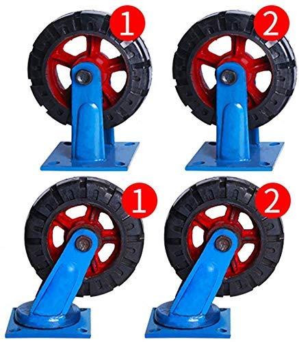 IMWANN ZXG 4 Castor Wheels Heavy Duty Ruedas giratorias de Ruedas de Goma Ruedas for Muebles Tabla Trolley Bed Banco de Trabajo, de 10 Pulgadas Ruedas