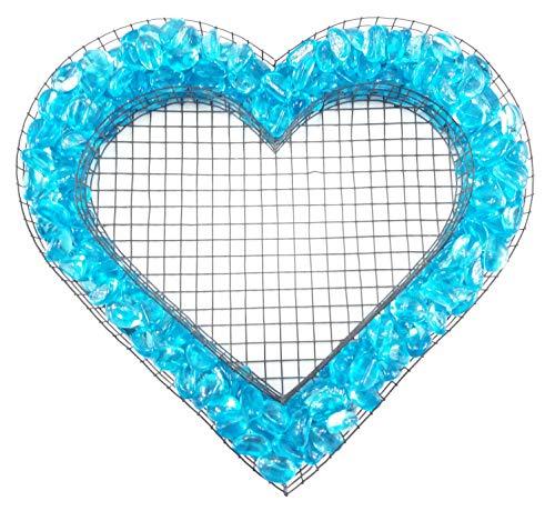 Gartenwelt Riegelsberger Herz Gitter mit kleinen Glasnuggets Azzurro (türkis) für Allerheiligen Grabschmuck Herz-Gitter Grabgestaltung Grabdeko Pflanzschale Herzgitter