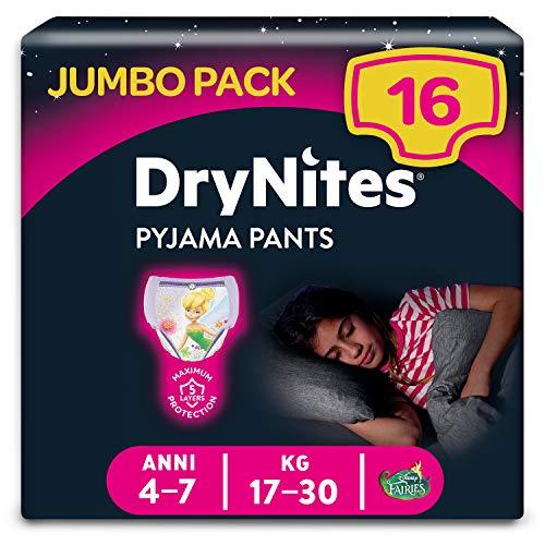 Huggies DryNites hochabsorbierende Pyjamahosen Unterhosen für Mädchen, Jumbo Monatspackung, 4-7 Jahre, (1 Packung von 16)