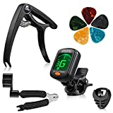 9 Pieces Guitar Accessories Kit Including Guitar Tuner,Guitar Capo,3 in 1 String Winder