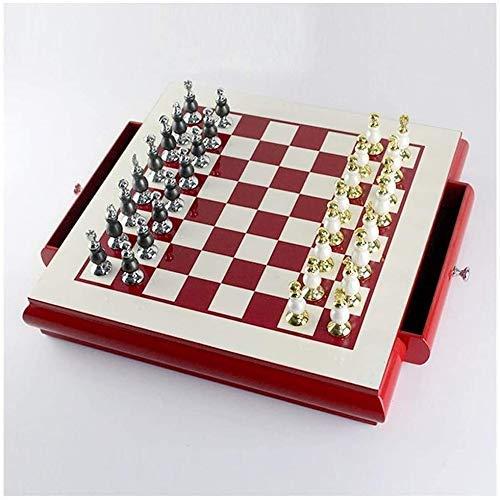 Juego de ajedrez Juego de Viaje para Adultos, niños, Tablero, Juego de ajedrez, ajedrez de Madera, Juego de Damas, Creativo, aleación de Zinc, Pintura, Piezas de ajedrez, Tablero de ajedrez Doble, ro