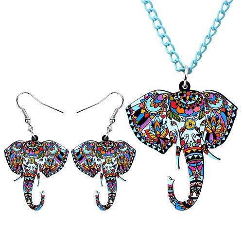 FUKAI Nueva Personalidad Conjunto De Joyas De Acrílico Elefante Cabeza Collar Pendientes Gargantilla Collar Colgante para Mujeres Niñas Exquisita Decoración De Regalo De Fiesta