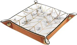 BestIdeas Panier de rangement carré 20,5 x 20,5 cm, avec texture marbre avec lignes dorées, boîte organisatrice sur table ...