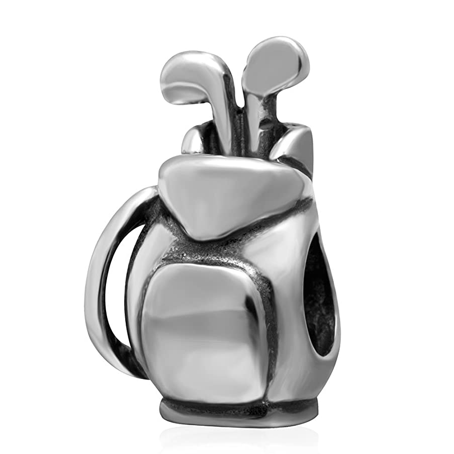 Golf Bag Charm 925 Sterling Silver Sports Beads for Fashion Charms & Necklace