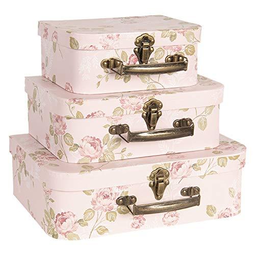 Clayre & Eef Dekoration Koffer (3) 30 * 21 * 9/25 * 18 * 9/20 * 16 * 8 cm Mehrfarbig Karton CC60025