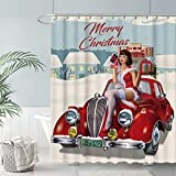 FULLSAIL Christmas Pin-up Girl Shower Curtain Set Winter Merry Xmas Gifts Retro Truck Bathroom Bathtubs Decor with 12 Hooks Easy Care Waterproof with Washable Durable Polyester Fabric 72'x72'