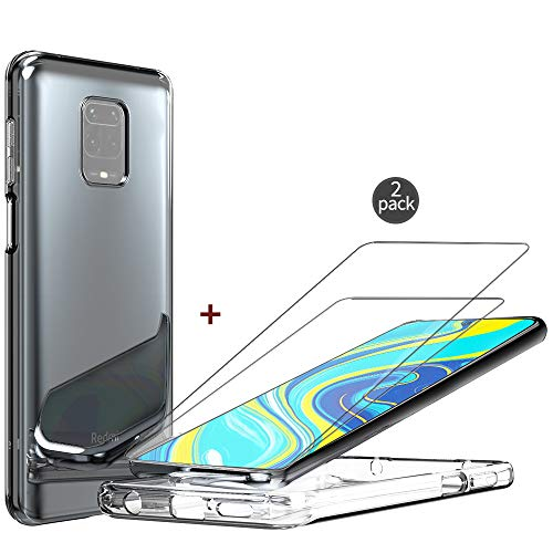 QHOHQ Case for Xiaomi Redmi Note 9S/Redmi Note 9 Pro with 2 Pack Screen Protector, Transparent Soft Silicone TPU Anti-Fall Cover - Tempered Glass Film - [9H Hardness] [Anti-Scratch]