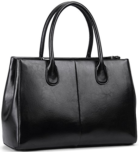 Heshe Women's Fashion Top Tote Handle Shoulder Crossbody Bag Vintage Handbag Purse (Black08)