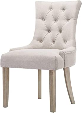 Artiss 2 x Dining Chairs, French Provincial Fabric Wooden Dining Chairs, Beige