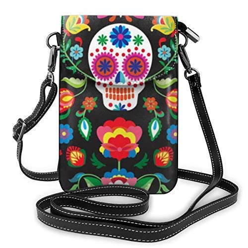 XCNGG bolso del teléfono Womens Small Crossbody Cellphone Purse Wallet with Adjustable Shoulder Strap Roomy Mexican Sugar Skulls Day of The Dead Flowers Shoulder Bags