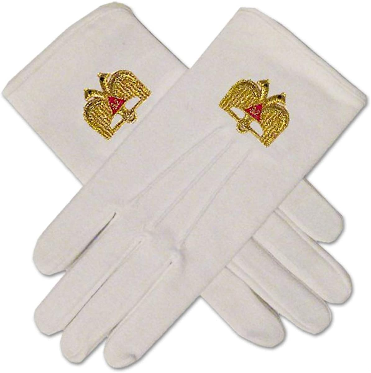 32nd Degree Scottish Rite Masonic Embroidered Cotton Gloves - [White]