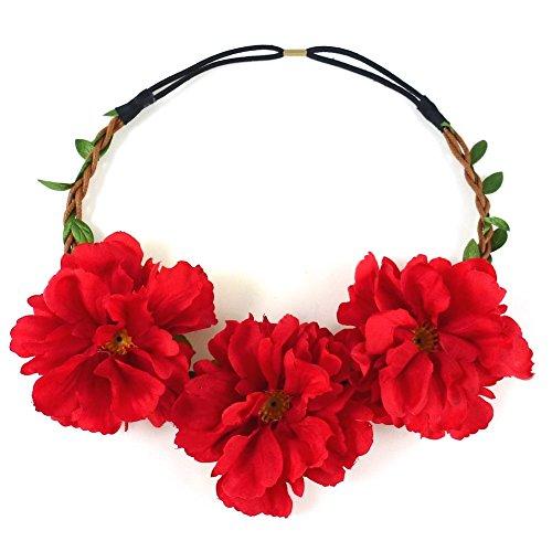 rougecaramel - Accessoires cheveux - Headband couronne de 3 fleurs mariage ou cérémonie - rouge