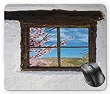 N\A Flor de Almendro Ranura de Almendra detrás de una Vieja Ventana de Madera rústica Fotografía de Estilo Pastoral, Alfombrilla de ratón Multicolor