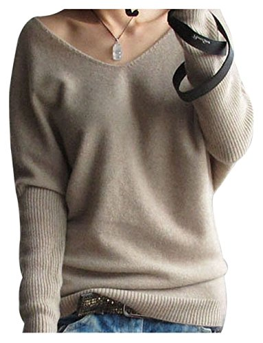 LONGMING Women's Fashion Big V-Neck Pullover Loose Sexy Batwing Sleeve Wool Cashmere Sweater Winter Tops(Tan, S)