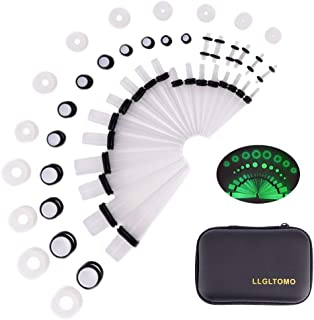 LLGLTEC Ear Stretching Kit 50 Pieces 14G-00G Ear Gauges Expander Set Acrylic Tapers and Plugs & Silicone Tunnels Body Piercing Jewelry Set with EVA Box