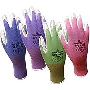 Showa Atlas 370 Garden Club Gloves. Assorted Colors - 4 Pack. Size Medium