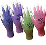 Showa Atlas 370 Garden Club Gloves. Assorted Colors - 4 Pack. Size Medium