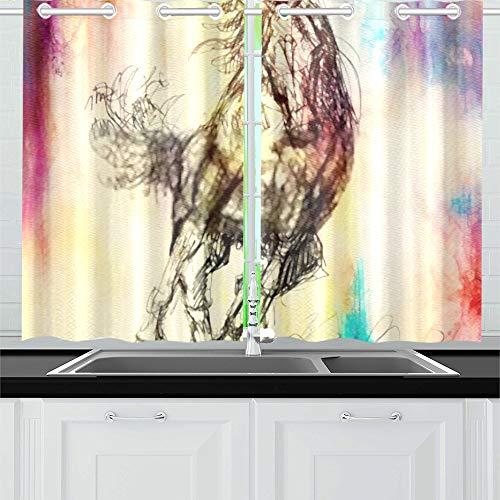 ZANSENG Verdunkelungsvorhänge für die Küche Öse Wärmeisolierter Raum Draw Pencil Horse auf Alten Papiervorhängen für das Wohnzimmer, 2 Fenstervorhangpaneele