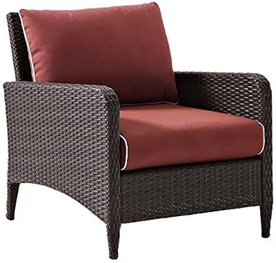 Crosley Furniture Kiawah Outdoor Wicker Loveseat with Sangria Cushions - Brown