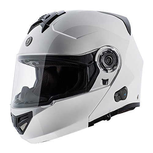 TORC T27B Full Face Modular Motorcycle Helmet with Integrated Blinc Bluetooth (Solid Color-White)