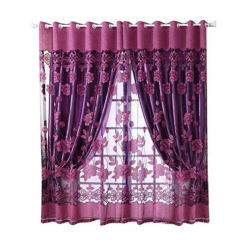 Duokon Poliéster 1pcs Patrón de Flores Cortina de Ventana de poliéster Elegante para la decoración de la Sala de Estar del Dormitorio