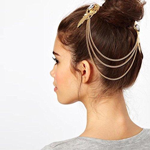 Jovono Chaîne dorée pour cheveux avec barrette à motif d'aile, style bohème, bandeau pour femmes