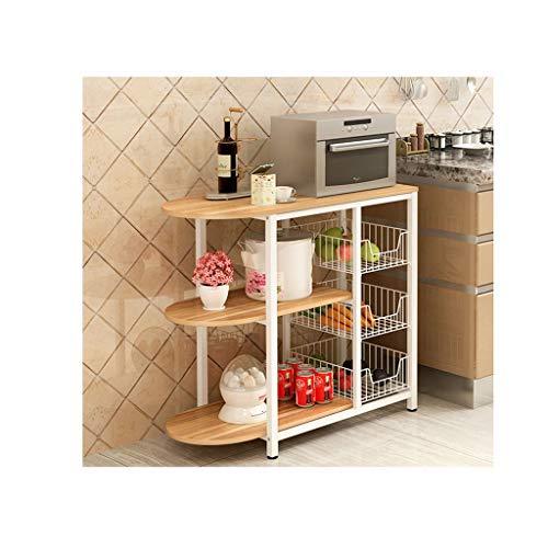 AMBH Utility Magnetron Oven Stand Opslag Plank Workstation plank, Wit Eiken, 3-Tier Keuken Rack L20.02.15