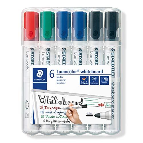 STAEDTLER Lumocolor 351 WP6 X Whiteboard-Marker (Rundspitze ca. 2 mm Linienbreite, Set mit 6 Markern, Hohe Qualität, trocken und rückstandsfrei abwischbar von Whiteboards)