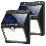 Luz Solar Jardín, 2 Pcs Trswyop 33 LED Luces Solares con Sensor Movimiento Lámpara Solar Exteriors Impermeable Focos Solar con 3 Modos Para Pared, Patio, Garaje, Camino de Entrada, Escaleras