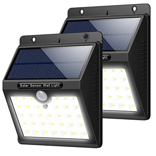 Trswyop Solarleuchte für Außen, [2 Stück] 33 led Superhelles Solarlampen mit Bewegungssensor 3 Modi Solarlicht Wasserdichte Solarbetriebene Sicherheitswandleuchte Beleuchtung für Garten,Zaun, Pfad