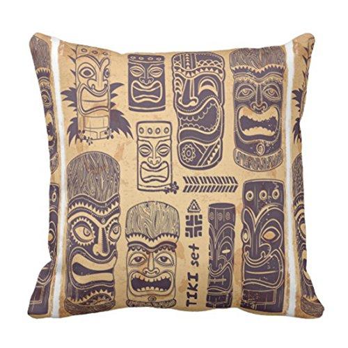 Funda de almohada con diseño de tiki vintage de Grunge para decoración del hogar, diseño tribal, cuadrada, funda de almohada