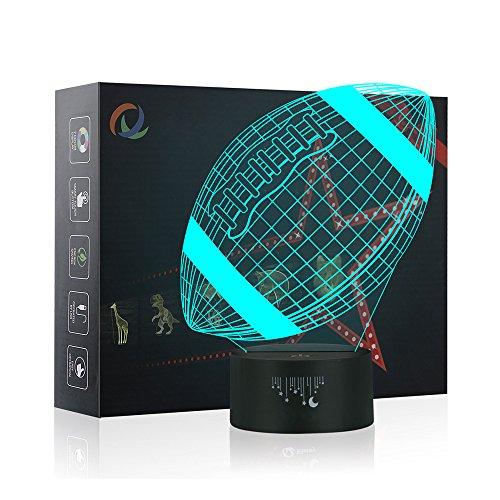 Rugby Luz de la Noche del 3D, LED Lámpara de Mesa 7 colores Cambiando con el Botón de Tacto Inteligente Iluminación Decoración Dormir Lámpara, Regalos Perfectos para Niños Navidad