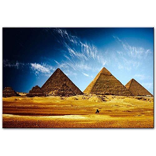 OLGKJ Egipcio Pirámides Pared Cuadros Realista Africano Paisaje Pared Arte Lienzo Impresiones Egipcio Pirámides Arte Pinturas para Sala Decoracion Sin Marco