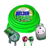 Welder Extension Cord 50 ft 10,000 Watts Nema 6-50 250-Volt Welder Extension Cord 8 Gauge Lighted end 8/3 Welder Extension Cord 50 amp Plug ETL Approved Welding Extension Cord 6/50 8 AWG