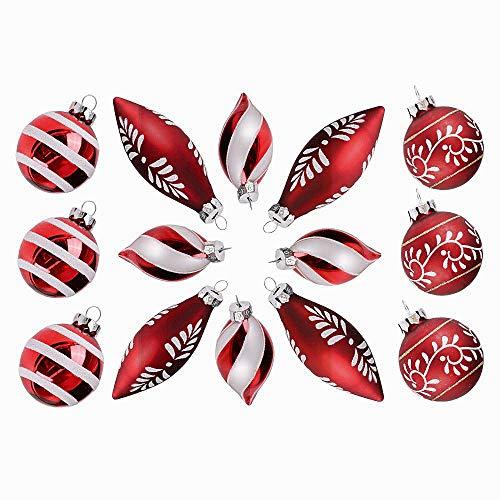 Valery Madelyn 14 TLG Weihnachtskugeln Set aus Glas Rot Weiß Glänzend Matt Christbaumkugel mit Schneemuster Anhänger Weihnachtsbaumschmuck Weihnachten Dekoration für Party Hochzeit