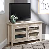 "Walker Edison Furniture Modern Farmhouse Wood Corner Universal Stand for TV's up to 48"" Flat Screen Living Room Storage Entertainment Center, White Oak, Model:AZQ44CCRWO"