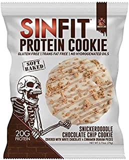 SINFIT Snickerdoodle Chocolate Chip Protein Cookies by Sinister Labs - Soft baked cookie drizzled with white chocolate, packed with 20g of protein - gluten free - 2.75 oz cookies (10-count)